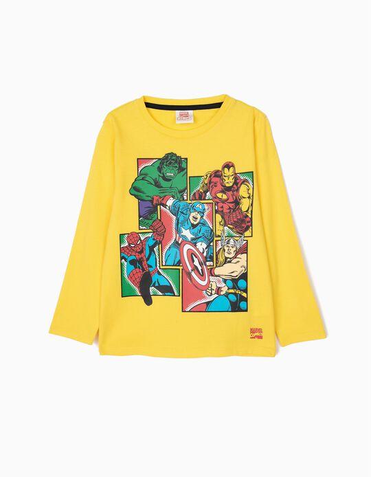 T-shirt Manga Comprida para Menino 'Avengers', Amarela