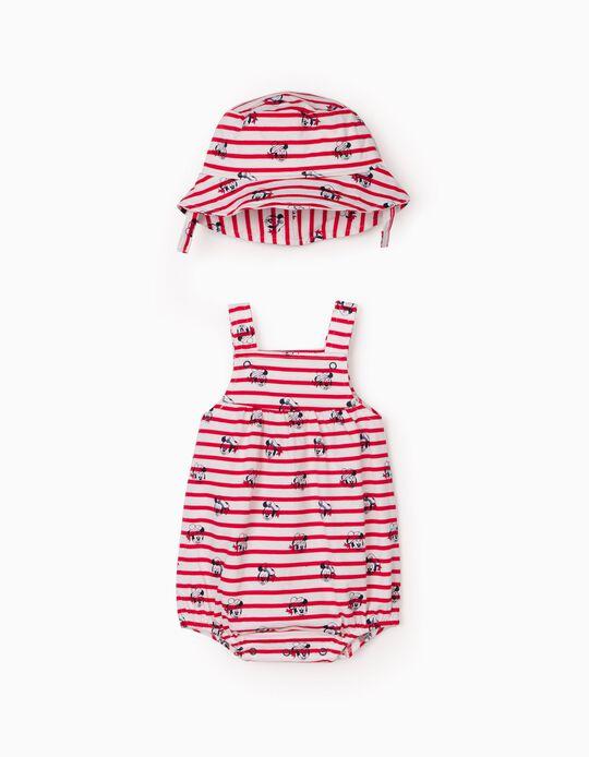 Jumpsuit & Hat for Newborn Baby Boys, 'Disney', Red/White