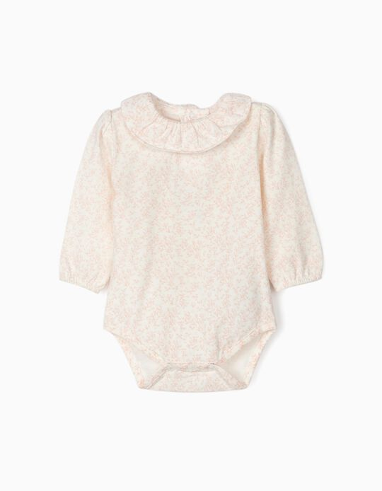 Bodysuit for Newborn Baby Girls 'Flowers' White/Pink