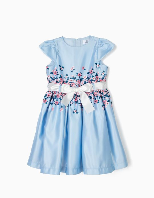 Satin Dress for Girls 'Flowers', Blue