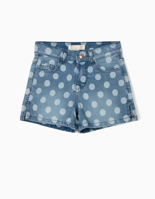 Denim Shorts with Dots for Girls, Blue