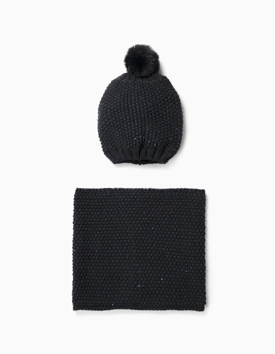 Beanie and Neck Warmer with Sequins for Girls, Dark Blue