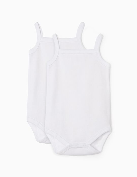 2-Pack Sleeveless Bodysuits for Baby, White