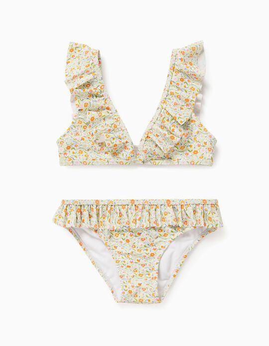 Biquíni Florido para Menina 'Anti-UV 80', Branco