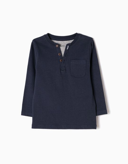 T-shirt Manga Comprida Efeito Duplo Azul