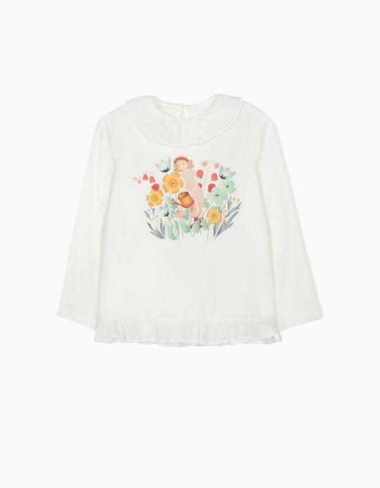 Long Sleeve Top for Girls 'Flower Girl', White