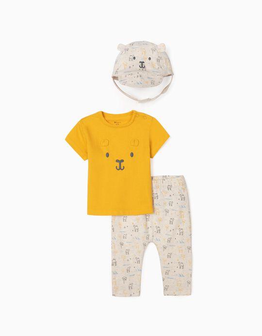 3-Piece Set for Newborn Baby Boys, Yellow/Beige