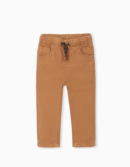 Lined Twill Trousers, Baby Boys, Camel