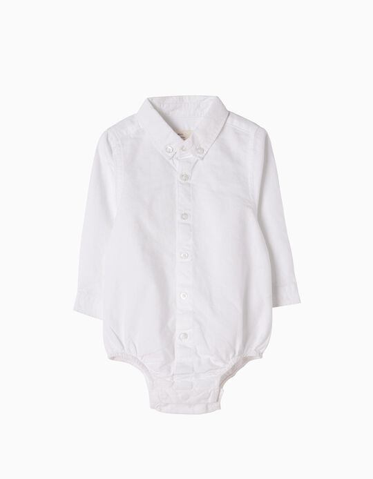 Oxford Shirt-Bodysuit for Newborn, White