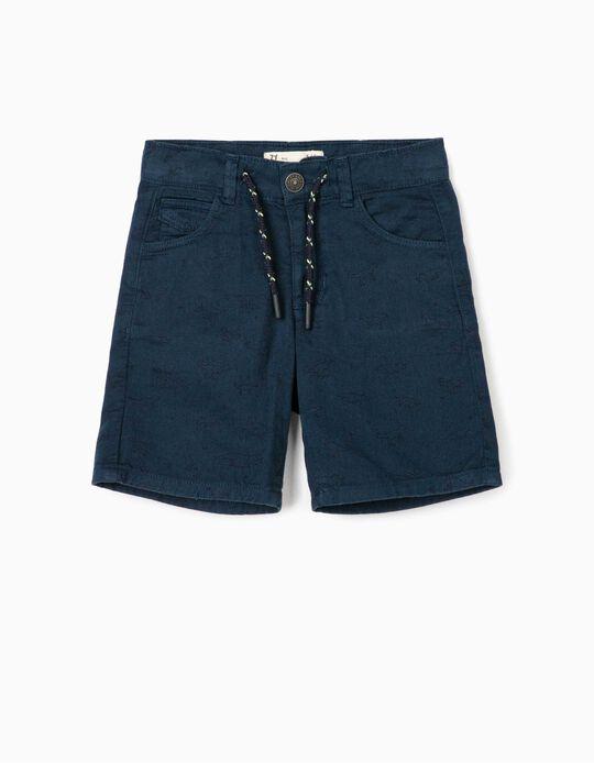 Printed Shorts for Boys, 'Dinosaurs', Dark Blue