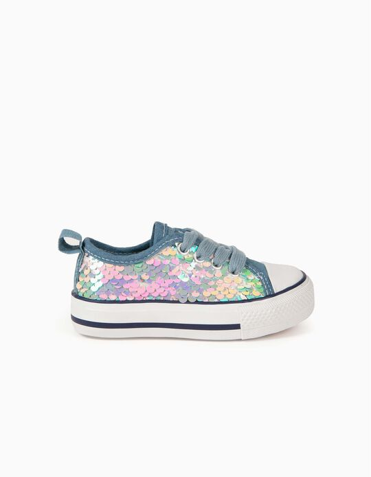 Sequinned Trainers for Babies, '50s Sneaker', Light Blue