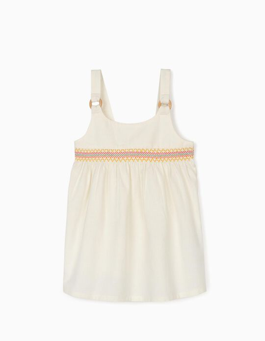 Linen Top for Girls, White
