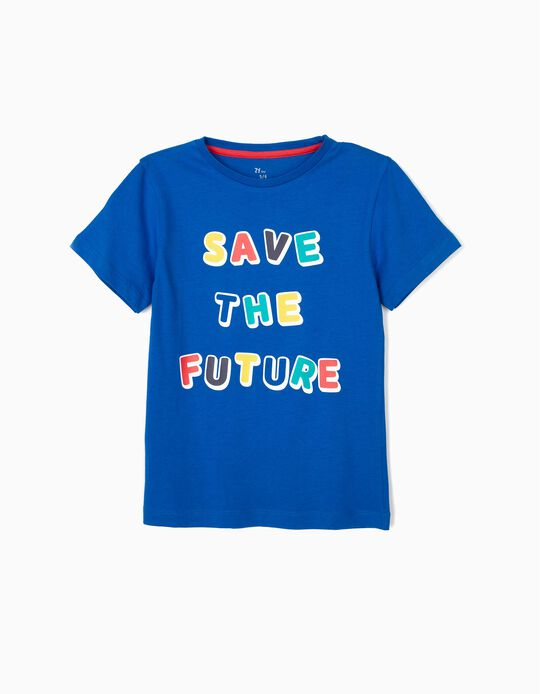 T-shirt para Menino 'Save The Future', Azul