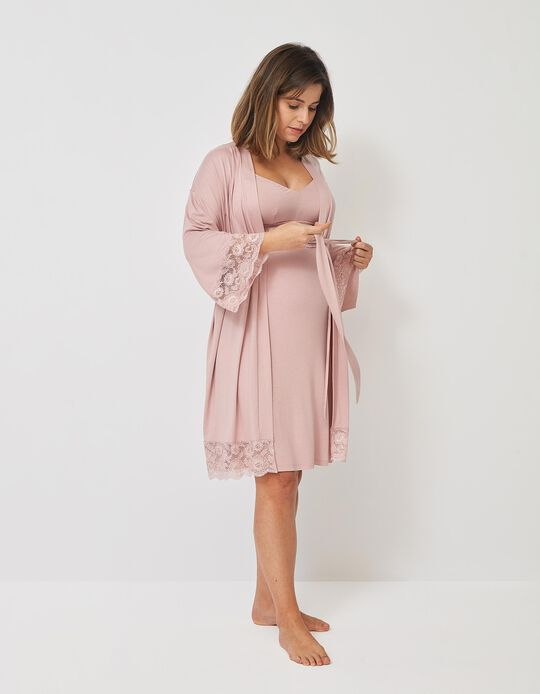 Dressing Gown with Lace, for Maternity