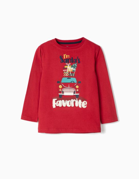 Long Sleeve 'Santa's Favourite' Top for Boys, Red