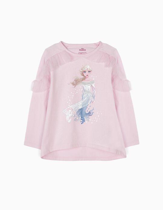 T-shirt Manga Comprida Elsa Frozen II Rosa
