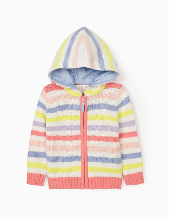 Striped Cardigan for Baby Girls, Multicoloured