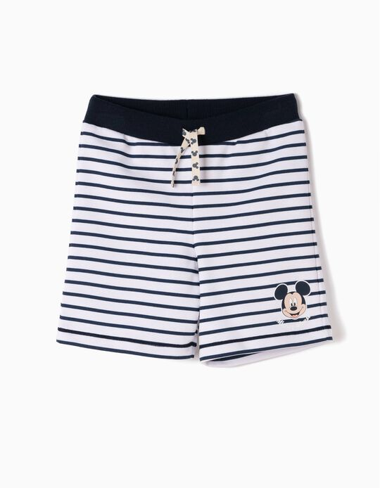 Fleece Shorts for Boys 'Mickey' Stripes, White and Blue