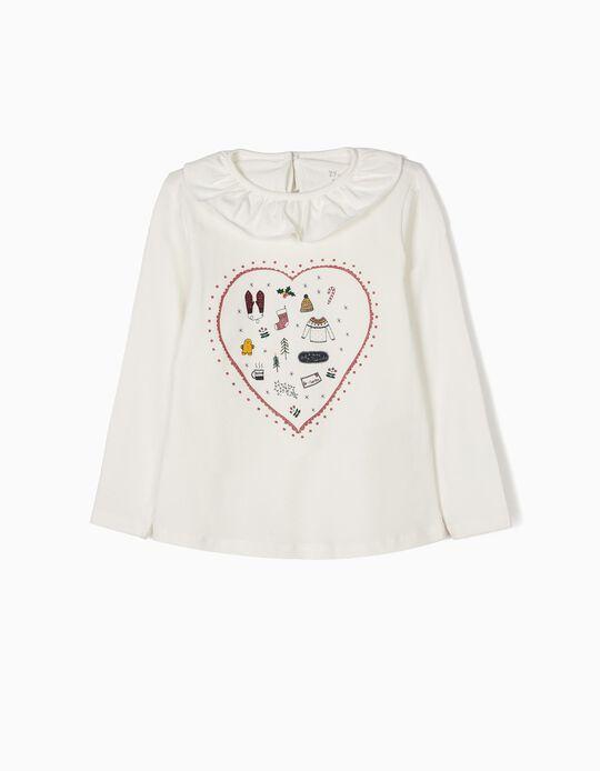 White Long-Sleeved Top, Christmas Heart