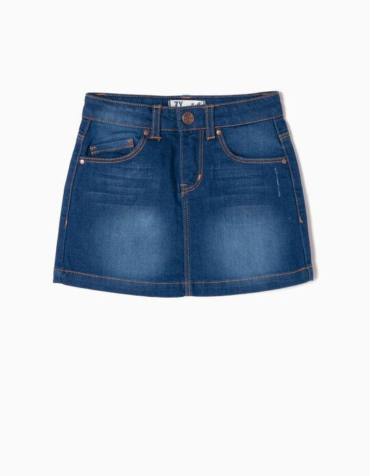 Denim Skirt for Girls, Dark Blue