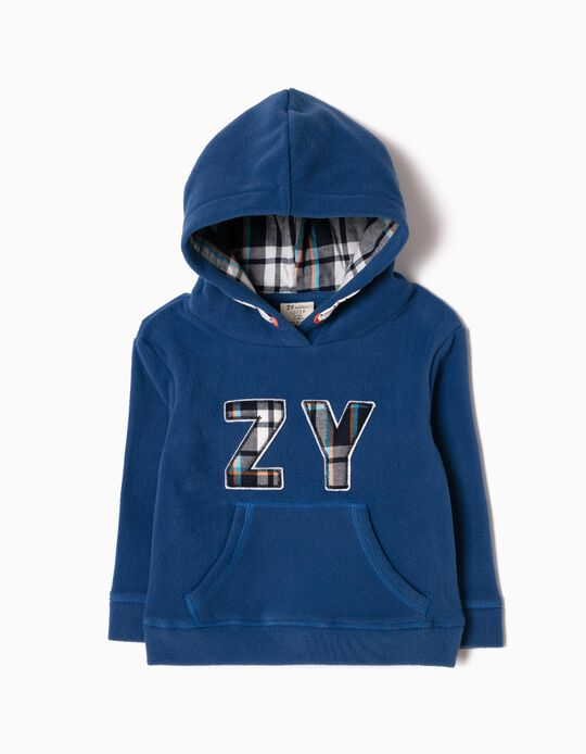 Blue Checked Polar Fleece Sweatshirt, ZY
