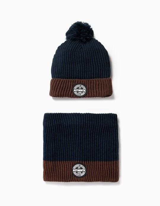 Beanie and Neck Warmer Set for Boys, Dark Blue