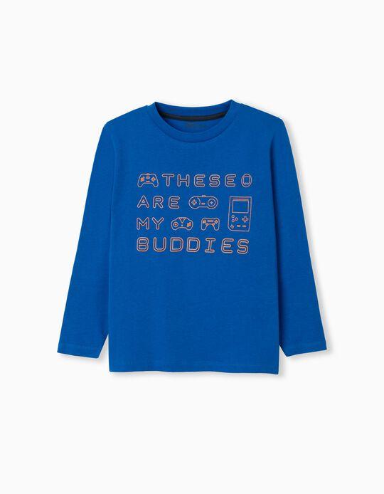 T-shirt Manga Comprida, Menino, Azul
