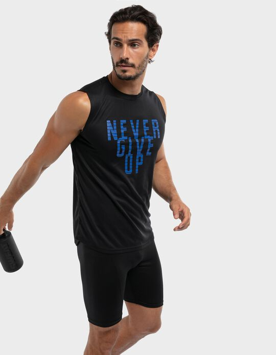 Sleeveless t-shirt with breathable panel on the back