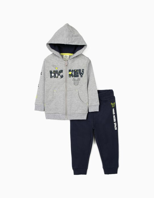 Tracksuit for Baby Boys, 'Mickey Mouse', Grey/Dark Blue