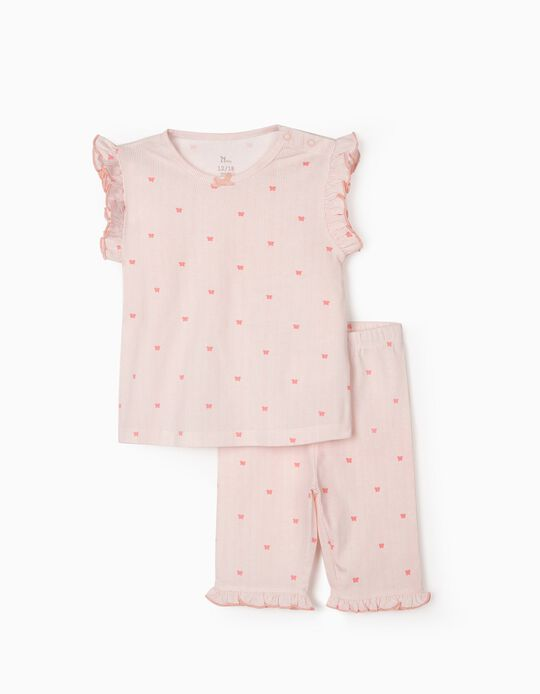Pyjamas for Baby Girls, 'Stripes & Butterflies', Pink