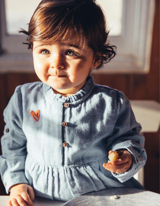Blusa para Menina Bordados, Azul