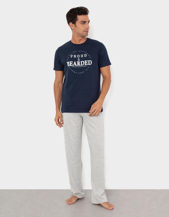 Pyjamas for Men, Dark Blue/ Grey