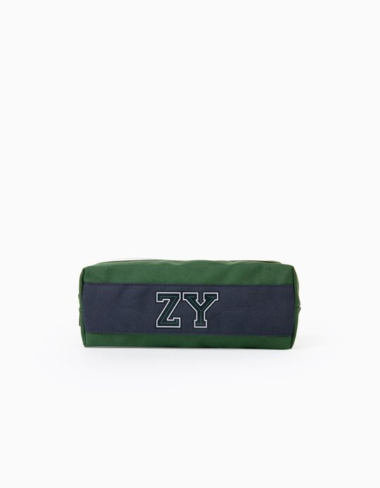 Pencil Case for Boys 'ZY', Green/Dark Blue