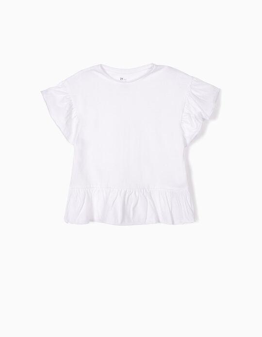 T-shirt com Folhos para Menina, Branco