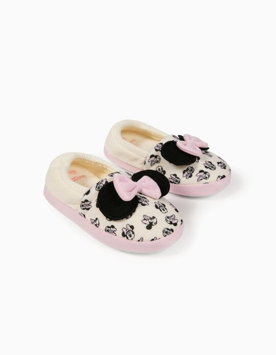 Slippers for Girls, 'Minnie Mouse', White/Pink