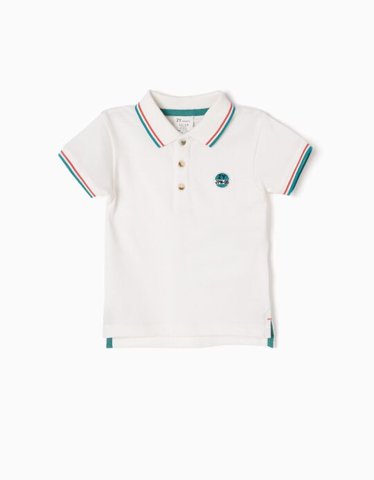 Short-sleeve Polo Shirt for Baby Boys 'JPN-96', White