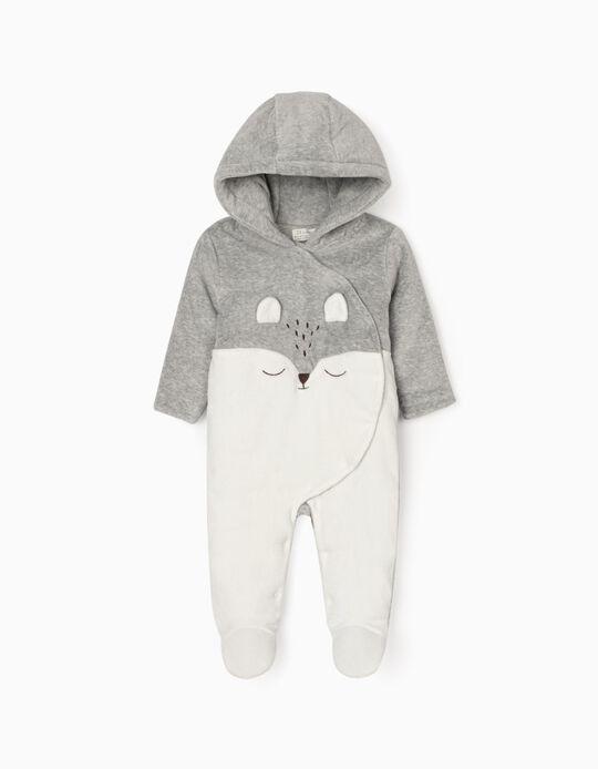 Babygrow Almofadado com Capuz para Recém-Nascidos, Branco/Cinza