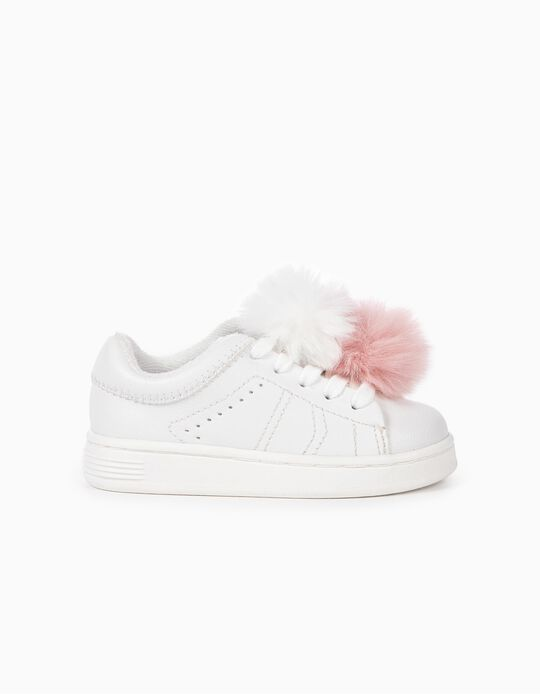 Trainers with Fluffy Pompoms for Baby Girls 'ZY 96', White