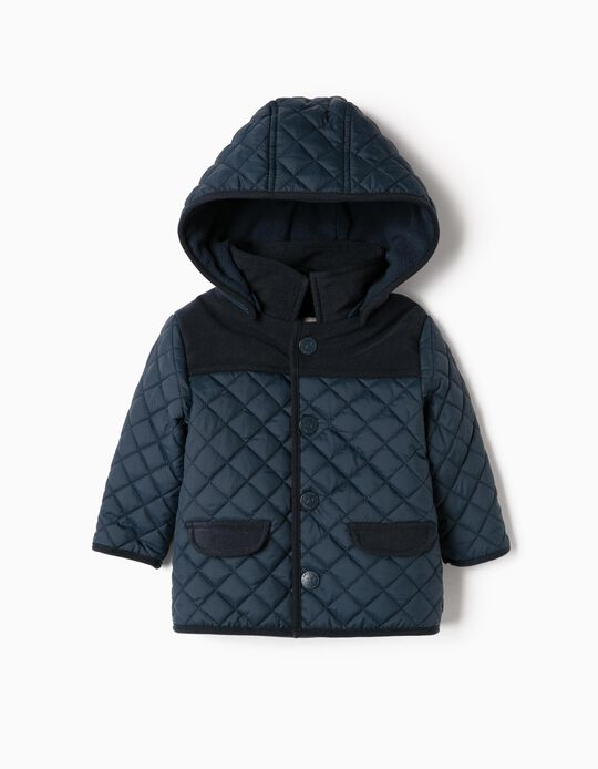 Padded Jacket for Newborn, Dark Blue