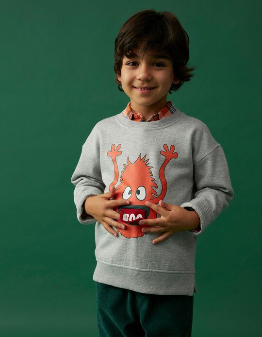 Sweatshirt Estampado Interactivo, Criança, Cinza