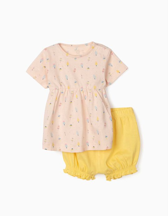Pyjamas for Baby Girls, 'Ice Creams', Pink/Yellow