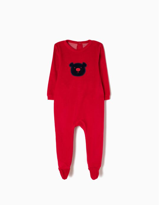 Velour All-In-One for Baby Boys 'Teddy Bear', Red