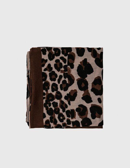 Leopard Pattern Scarf, Women, Brown