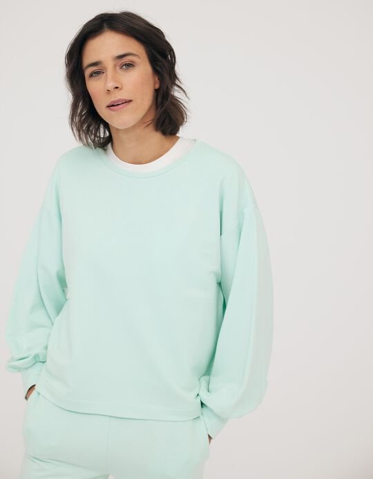 SWEATSHIRT PUFF SLEEVES, LIGHT BLUE, S