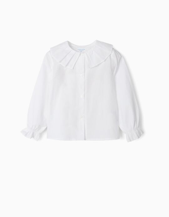 Long Sleeve Blouse for Girls, 'B&S', White