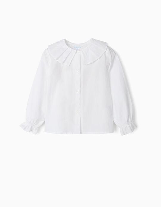 Long Sleeve Blouse for Girls, 'B&S', White