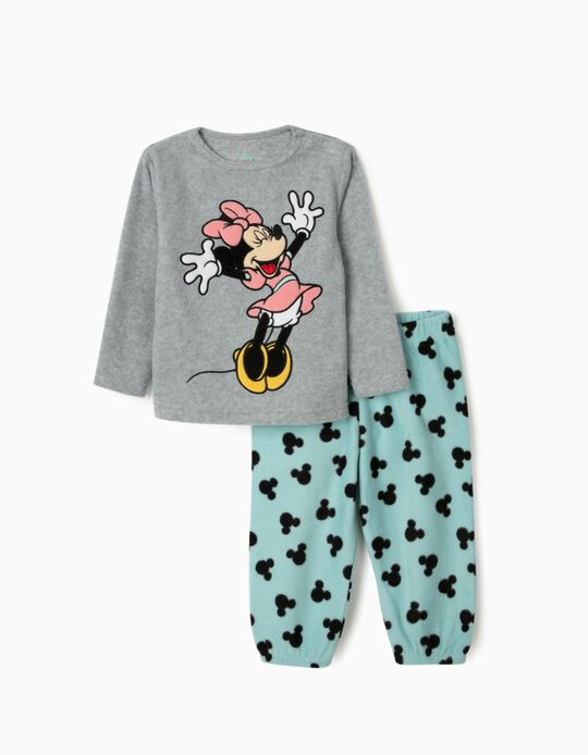 Polar Fleece Pyjamas for Baby Girls 'Minnie Mouse', Grey/Blue