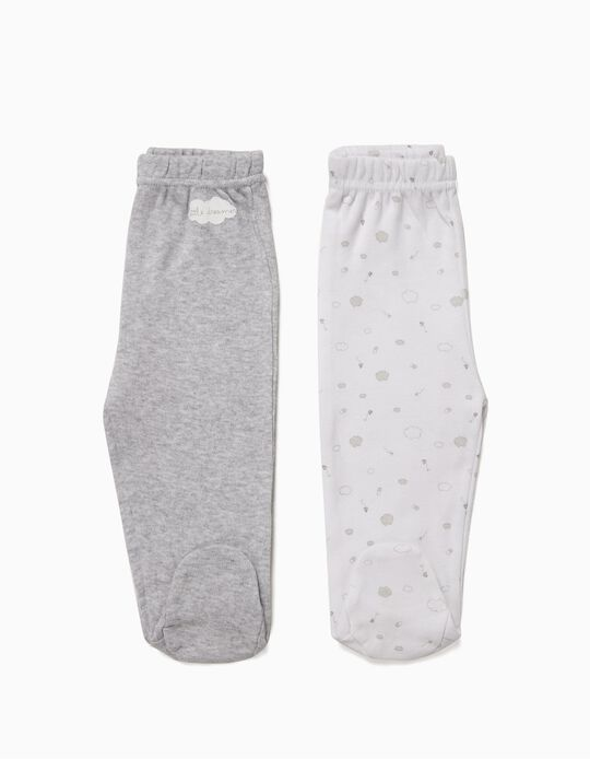 2 Footed Trousers for Newborn Boys 'Little Dreamer', White and Grey