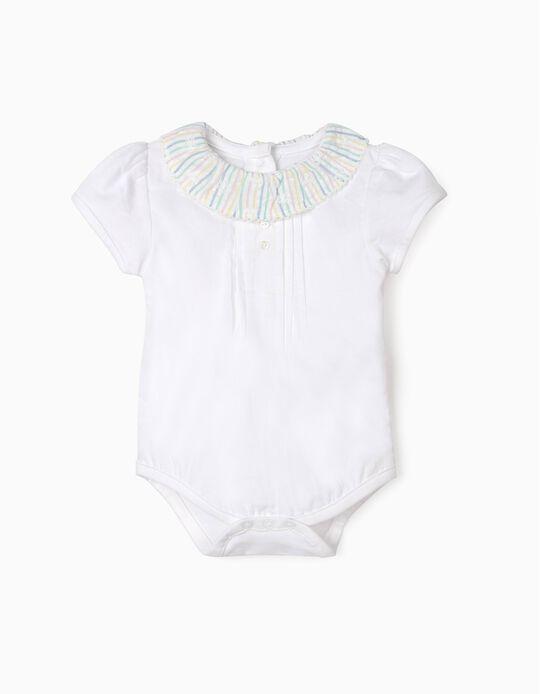 Blouse Bodysuit for Newborn Baby Girls, White