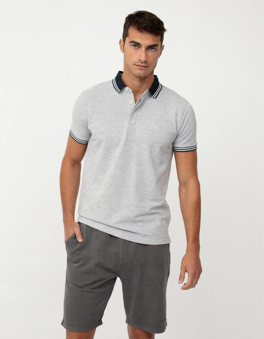 Short Sleeve PiquéKnit Polo Shirt for Men, Grey